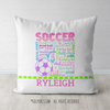 Personalized Soccer Pastel Typography Throw Pillow - Golly Girls