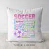 Soccer Pastel Typography Throw Pillow - Golly Girls