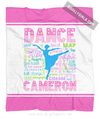 Golly Girls: Personalized Pastel Dance Typography Fleece Throw Blanket
