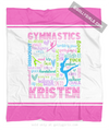 Golly Girls: Personalized Pastel Gymnastics Typography Fleece Throw Blanket