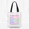 Golly Girls: Pastel Soccer Typography Tote Bag