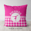 Personalized Pink Gingham Gymnastics Throw Pillow