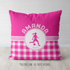 Personalized Pink Gingham Soccer Throw Pillow - Golly Girls