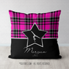 Personalized Pink Plaid With Silver Star Gymnastics Throw Pillow