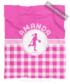 Golly Girls: Personalized Pink Gingham Basketball Fleece Throw Blanket