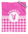 Golly Girls: Personalized Pink Gingham Cheerleading Fleece Throw Blanket