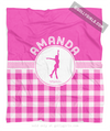 Golly Girls: Personalized Pink Gingham Figure Skating Fleece Throw Blanket
