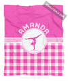 Golly Girls: Personalized Pink Gingham Gymnastics Fleece Throw Blanket