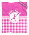 Golly Girls: Personalized Pink Gingham Lacrosse Fleece Throw Blanket