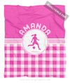 Golly Girls: Personalized Pink Gingham Soccer Fleece Throw Blanket