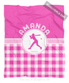 Golly Girls: Personalized Pink Gingham Softball Fleece Throw Blanket