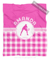 Golly Girls: Personalized Pink Gingham Tennis Fleece Throw Blanket
