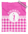 Golly Girls: Personalized Pink Gingham Volleyball Fleece Throw Blanket