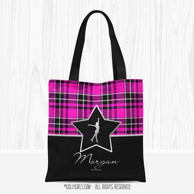 Golly Girls: Personalized Pink Plaid and Silver Star Figure Skating Tote Bag