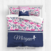 Golly Girls: Tropical Flowers Personalized Basketball Queen Comforter Plus Sham Plus Pillow