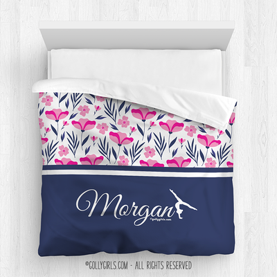 Golly Girls: Tropical Flowers Personalized Gymnastics Queen Comforter