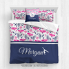 Golly Girls: Tropical Flowers Personalized Gymnastics Queen Comforter Plus Sham Plus Pillow