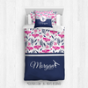 Golly Girls: Tropical Flowers Personalized Gymnastics Twin Comforter Plus Sham Plus Pillow