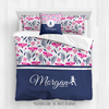 Golly Girls: Tropical Flowers Personalized Soccer Queen Comforter Plus Sham Plus Pillow