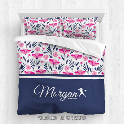 Golly Girls: Tropical Flowers Personalized Softball Queen Comforter Plus Sham