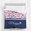 Golly Girls: Tropical Flowers Personalized Softball Queen Comforter