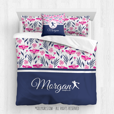 Golly Girls: Tropical Flowers Personalized Softball Queen Comforter Plus Sham Plus Pillow