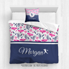 Golly Girls: Tropical Flowers Personalized Softball Queen Comforter Plus Pillow