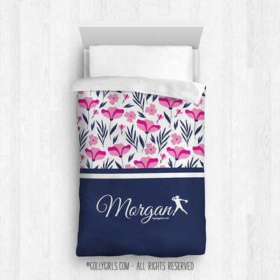Golly Girls: Tropical Flowers Personalized Softball Twin Comforter