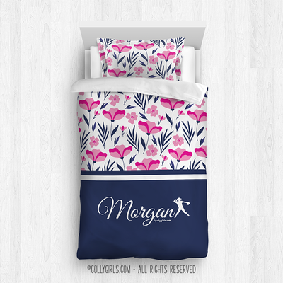 Golly Girls: Tropical Flowers Personalized Softball Twin Comforter Plus Sham