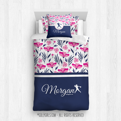 Golly Girls: Tropical Flowers Personalized Softball Twin Comforter Plus Sham Plus Pillow