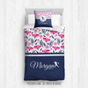 Golly Girls: Tropical Flowers Personalized Softball Twin Comforter Plus Pillow