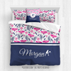 Golly Girls: Tropical Flowers Personalized Tennis Queen Comforter Plus Sham Plus Pillow