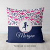 Tropical Flowers Personalized Basketball Throw Pillow