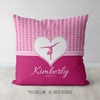 Personalized Pretty Pink Hearts Gymnastics Throw Pillow