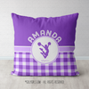Personalized Purple Gingham Cheerleading Throw Pillow - Golly Girls