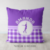 Personalized Purple Gingham Figure Skating Throw Pillow - Golly Girls