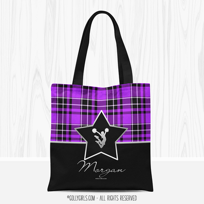 Personalized Plaid and Silver Star Cheerleading Tote Bag - Golly Girls