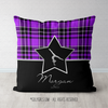 Personalized Purple Plaid With Silver Star Gymnastics Throw Pillow