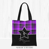 Personalized Purple Plaid and Silver Star Gymnastics Tote Bag
