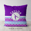 Personalized Purple Snapped Pattern Gymnastics Throw Pillow
