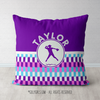 Personalized Purple Snapped Pattern Softball Throw Pillow - Golly Girls