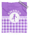 Golly Girls: Personalized Purple Gingham Basketball Fleece Throw Blanket
