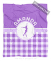Golly Girls: Personalized Purple Gingham Figure Skating Fleece Throw Blanket