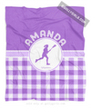 Golly Girls: Personalized Purple Gingham Lacrosse Fleece Throw Blanket