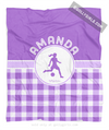 Golly Girls: Personalized Purple Gingham Soccer Fleece Throw Blanket