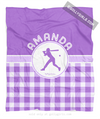 Golly Girls: Personalized Purple Gingham Softball Fleece Throw Blanket