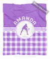 Golly Girls: Personalized Purple Gingham Tennis Fleece Throw Blanket