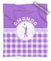Golly Girls: Personalized Purple Gingham Volleyball Fleece Throw Blanket