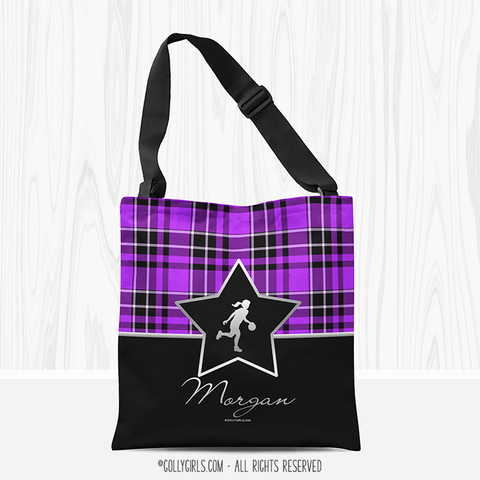 Golly Girls: Personalized Purple Plaid and Silver Star Basketball Shoulder Tote Bag
