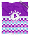 Golly Girls: Personalized Purple Snapped Pattern Basketball Fleece Throw Blanket
